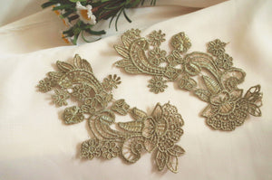 metallic gold lace applique by pairs, retro metallic gold venise lace applique