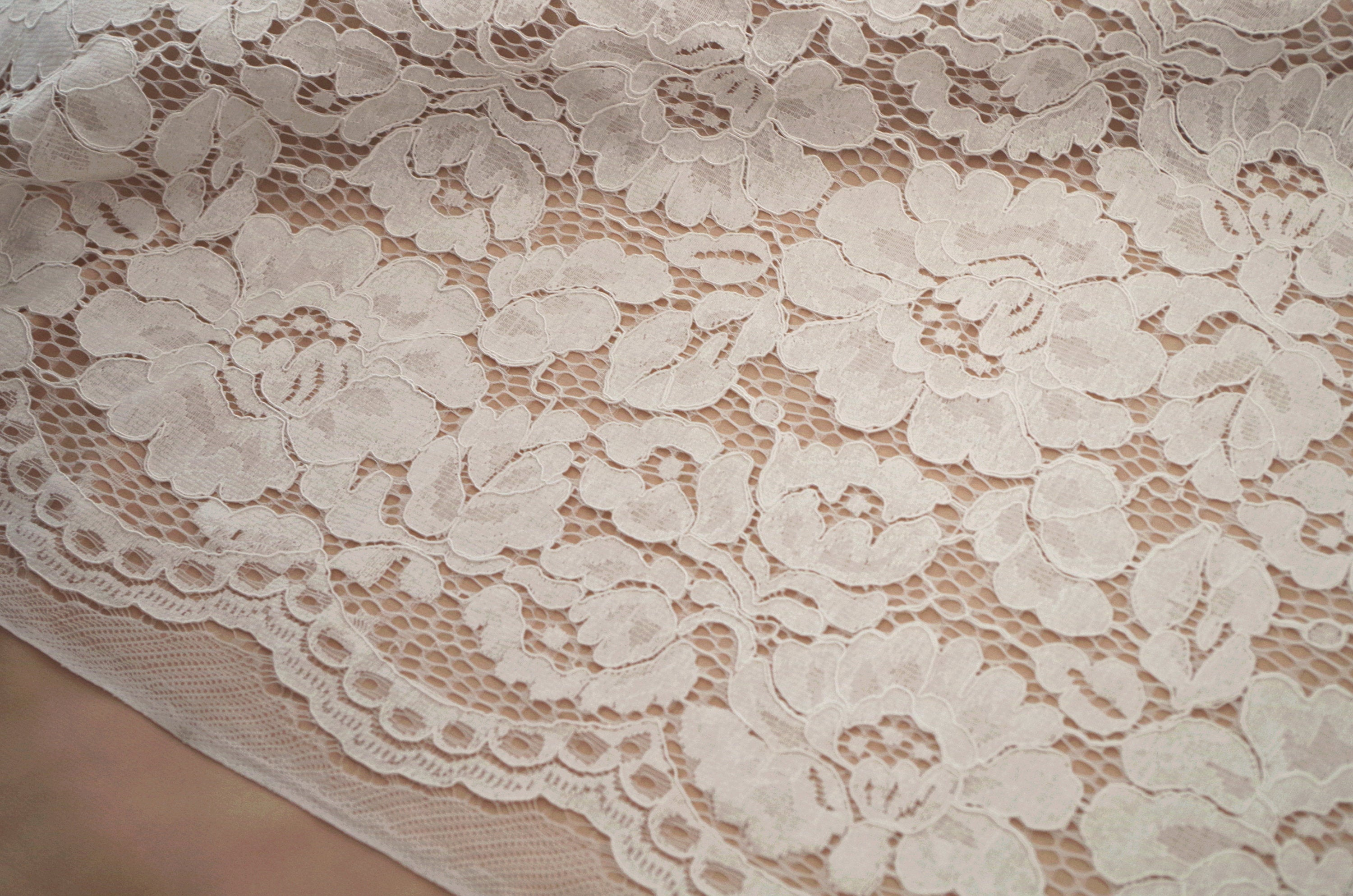ivory cord lace fabric with florals, bridal lace fabric, alencon lace fabric, cord lace fabric with peonies