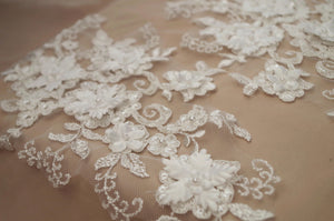 2pcs ivory sequined lace applique, heavy bead lace applique, alencon lace trim, cord lace applique, 3D lace applique, bridal headpiece