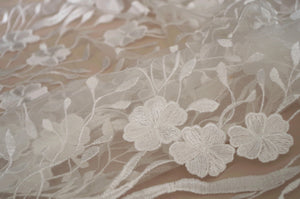 Embroidered Tulle lace fabric for bridal dress, lace fabric with retro florals, tulle lace fabric