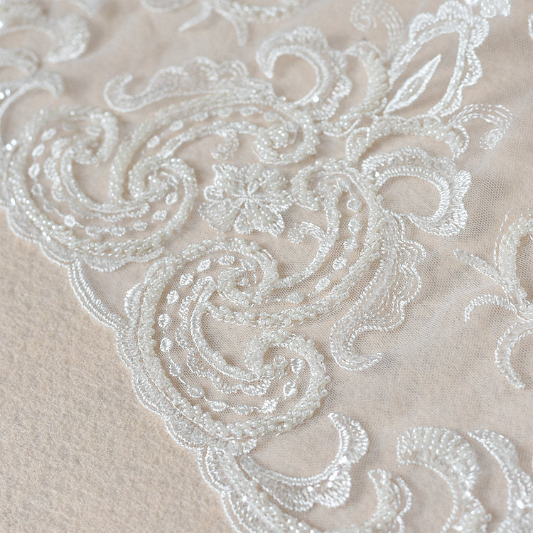 ivory cord lace fabric with sequins and beads, delicate lace fabric - lace era