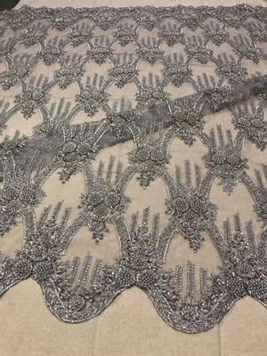 High end heavy beaded lace fabric, delicate lace fabric, heavy beaded lace fabric, gray bead lace fabric, haute couture, evening dress