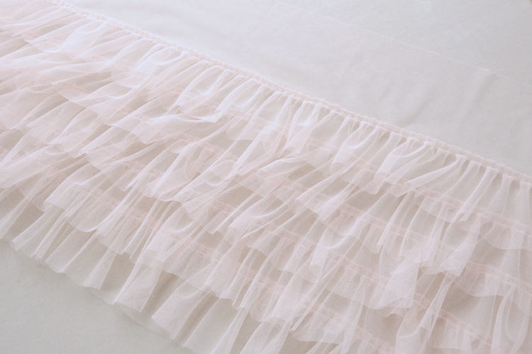 blush pink ruffled tulle trim, pleated mesh trim, tutu dress fabric, ruffle mesh trim - lace era