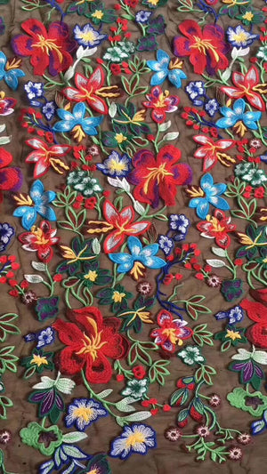 heavy embroidered lace fabric with multi-color flowers, deluxe embroidery mesh lace fabric - lace era