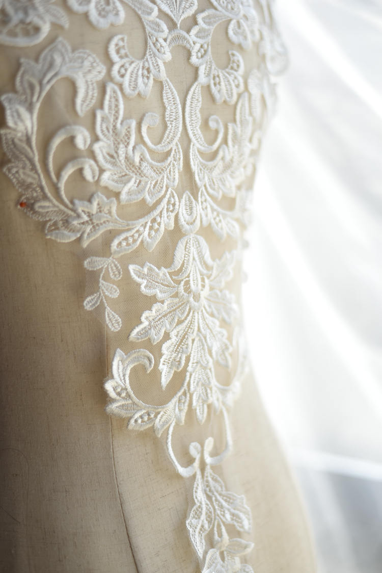 Lace Applique,  embroidered bodice lace applique, tulle lace bodice for bridal dress altering, mesh lace applique