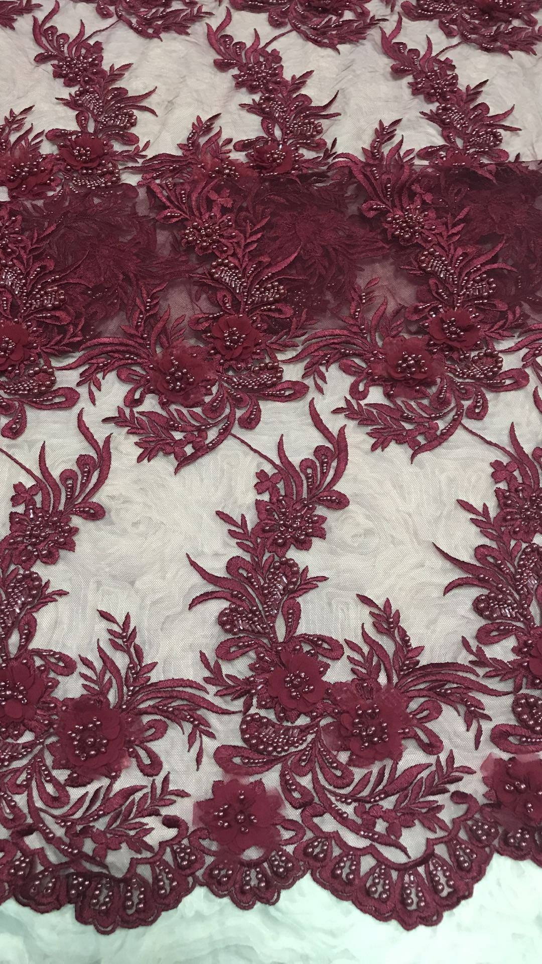 wine red lace fabric with 3D flowers, heavy embroidered lace fabric with 3D flowers, heavy bead lace fabric for bridal, tulle lace fabric