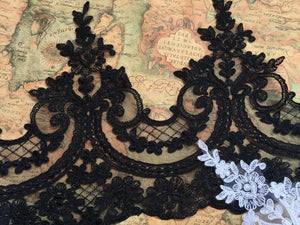 black alencon lace trim, black cord lace trim, black alencon trimming, black lace border - lace era