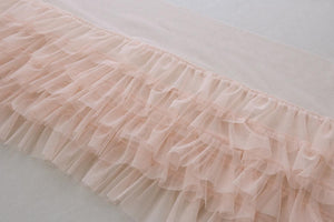 Apricot ruffled tulle trim, pleated mesh trim, tutu dress fabric, ruffle mesh - lace era