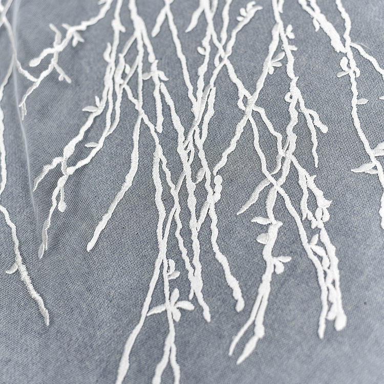off white bridal Lace Fabric with branches - lace era