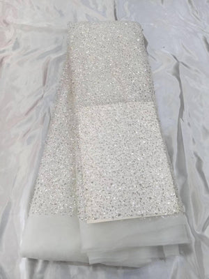Delicate bead and sequin lace fabric for bridal dress and haute couture - lace era