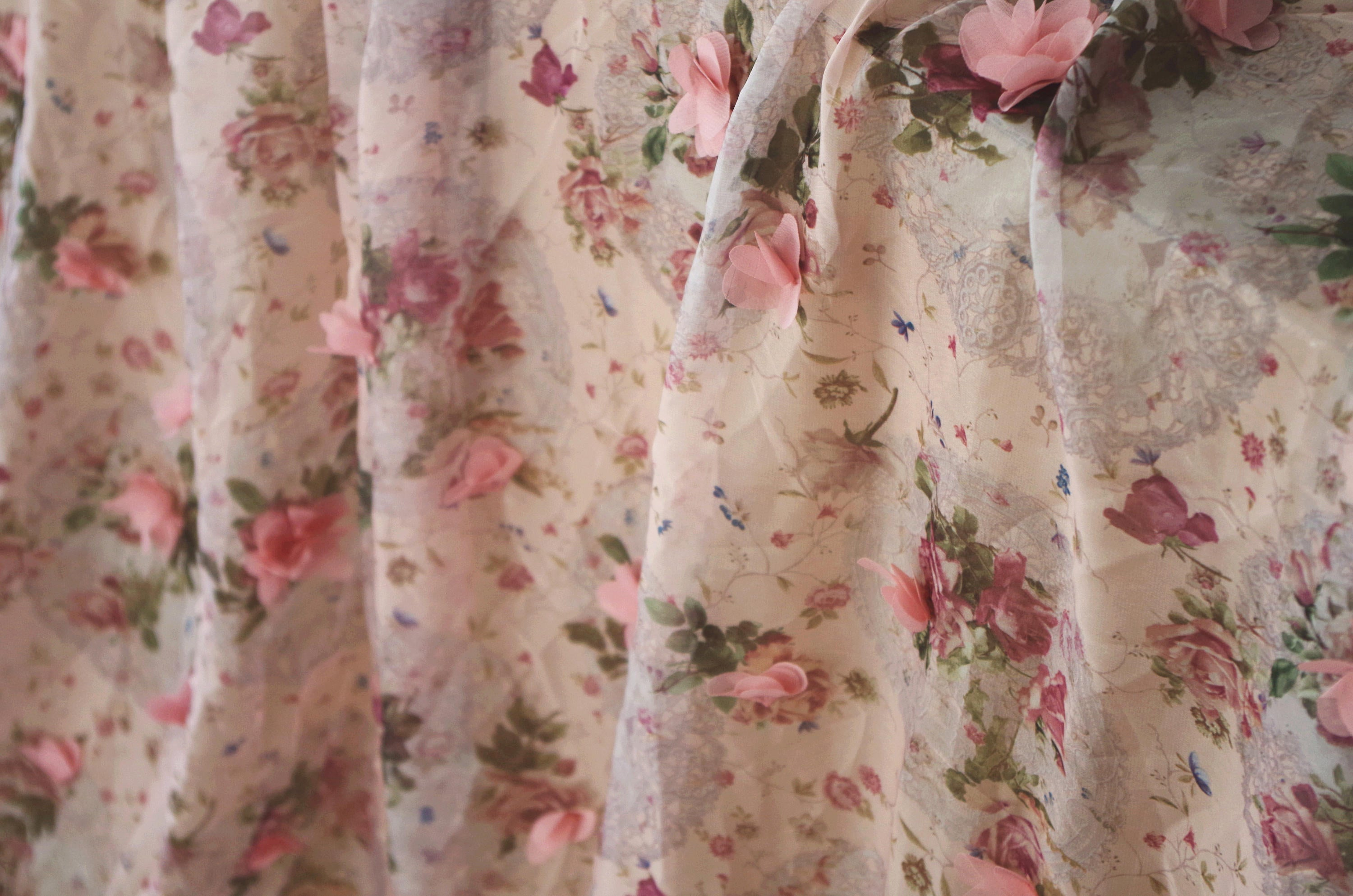 light pink chiffon fabric with 3D rosette flower, printed chiffon fabric with 3D flower for women skirt, prop, backdrop, wedding table cloth