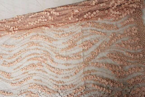 black heavy hand work lace fabric,  French lace fabric for haute couture