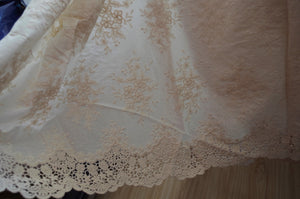 cotton eyelet lace fabric with embroidered forals by the yard - lace era