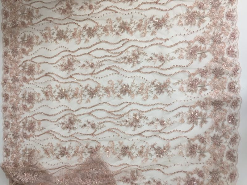 heavy beaded lace fabric, super delicate lace, nude pink beaded lace fabric, vintage style bridal lace fabric, beading cord lace fabric