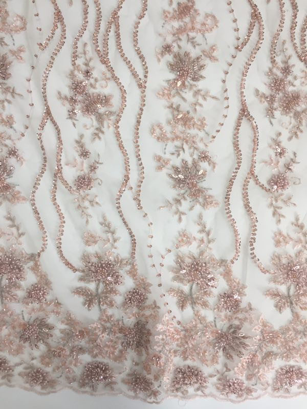 pale pink heavy beaded lace fabric for haute couture - lace era