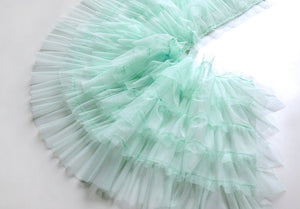mint green ruffled tulle trim, pleated mesh trim, tutu trim, ruffle mesh trim - lace era