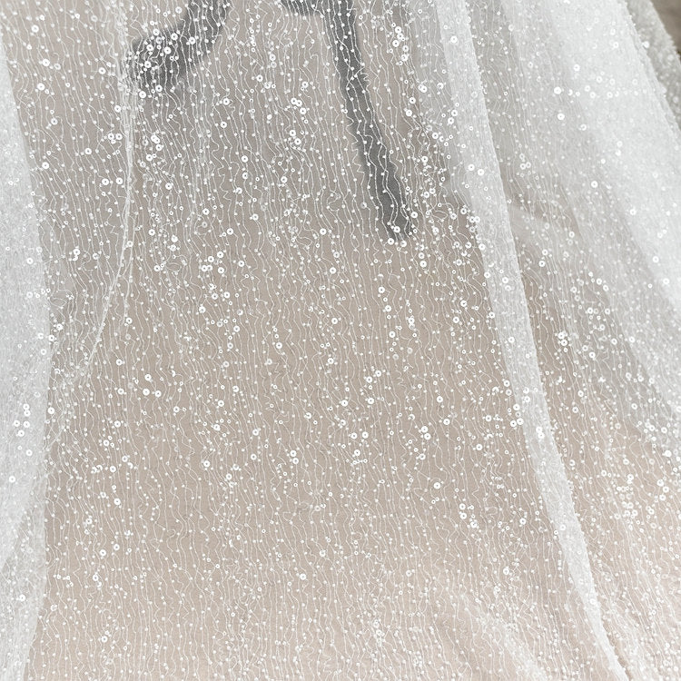 heavy bead tulle lace fabric with sequin and beads, French beading bridal tulle lace fabric, off white tulle lace fabric, soft tulle fabric - lace era