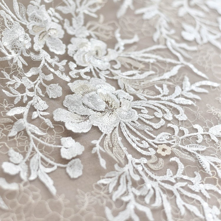 bridal tulle lace fabric with sequins and embroidered florals - lace era