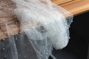 pearl bead tulle fabric, heavy bead mesh lace fabric, bridal tulle lace fabric with pearls - lace era