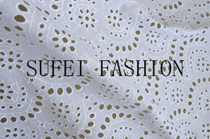 cotton eyelet lace fabric with chevron floral pattern, 100% cotton lace fabric, embroidered lace fabric by the yard