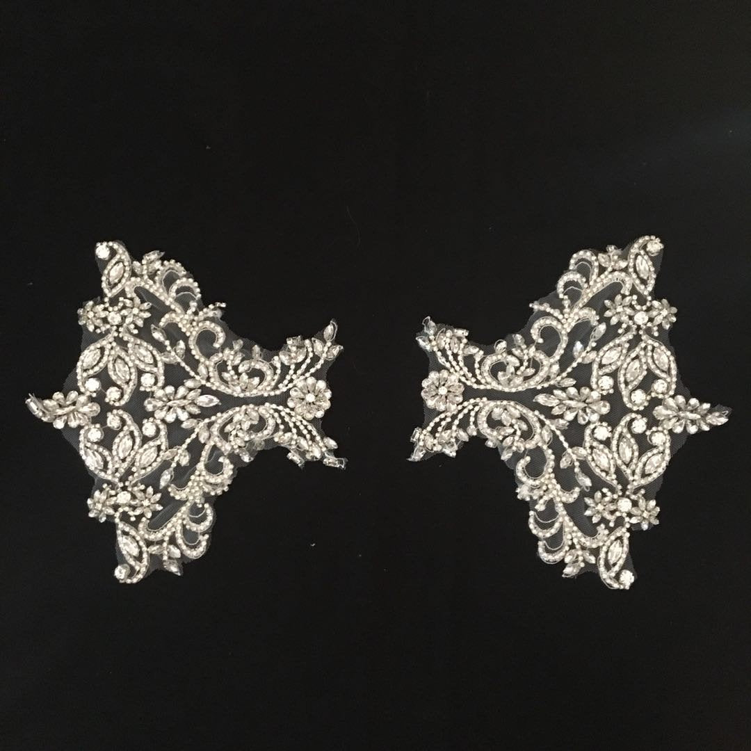 handmade  rhinestone applique for bridal shoulder embellishment - lace era