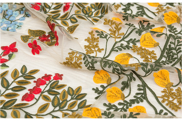 high end embroidered tulle lace fabric with colorful flowers for fashion couture and apparel - lace era