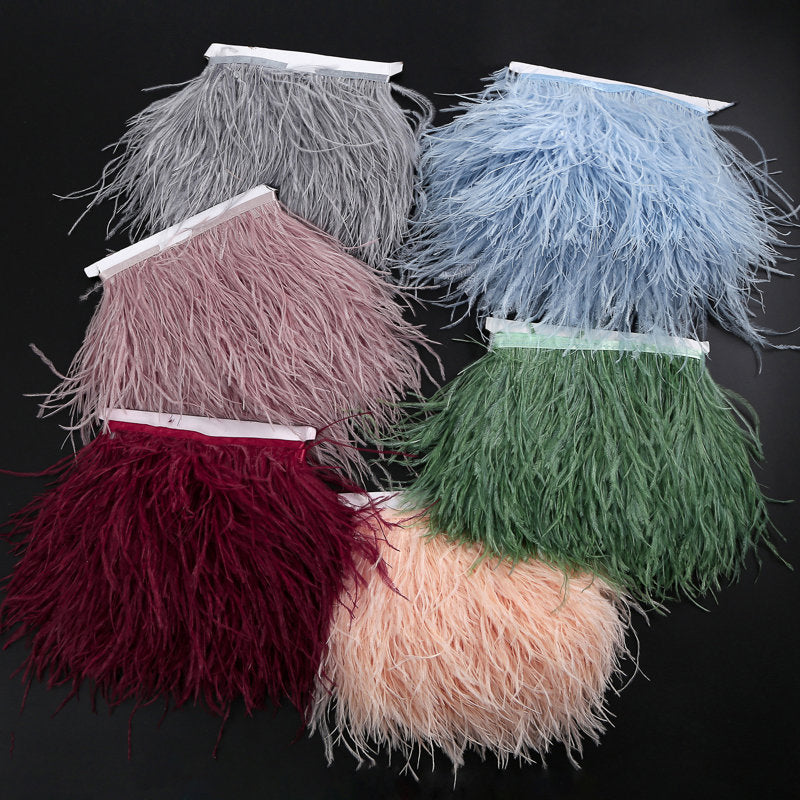 Ostrich Feather Trimming Fringe with Ribbon Tape - lace era