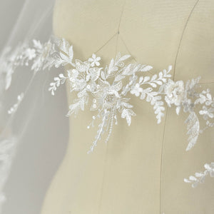 heavy embroidered lace fabric with florals and flocks birds, off white tulle lace fabric, bridal lace fabric