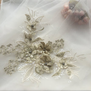 3d silver florals motif bodice applique for bridals and fashion couture - lace era