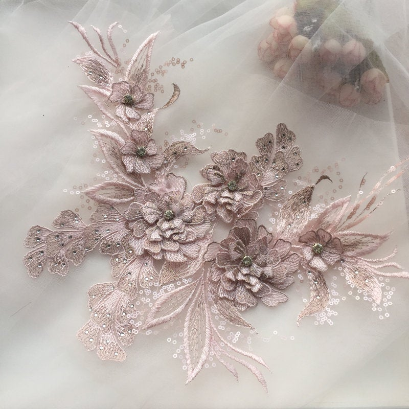 3d light pink florals motif applique - lace era