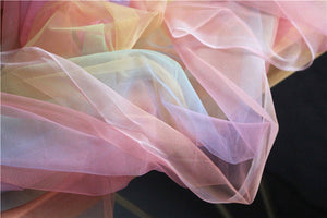 dream rainbow tulle fabric with Gradient colors, tie dyed style mesh lace fabric for bridals and fashion couture - lace era