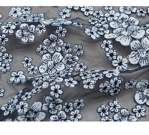 navy blue heavy embroidered tulle lace fabric with romantic cherry flowers, embroidered tulle lace fabric, embroidery mesh lace fabric