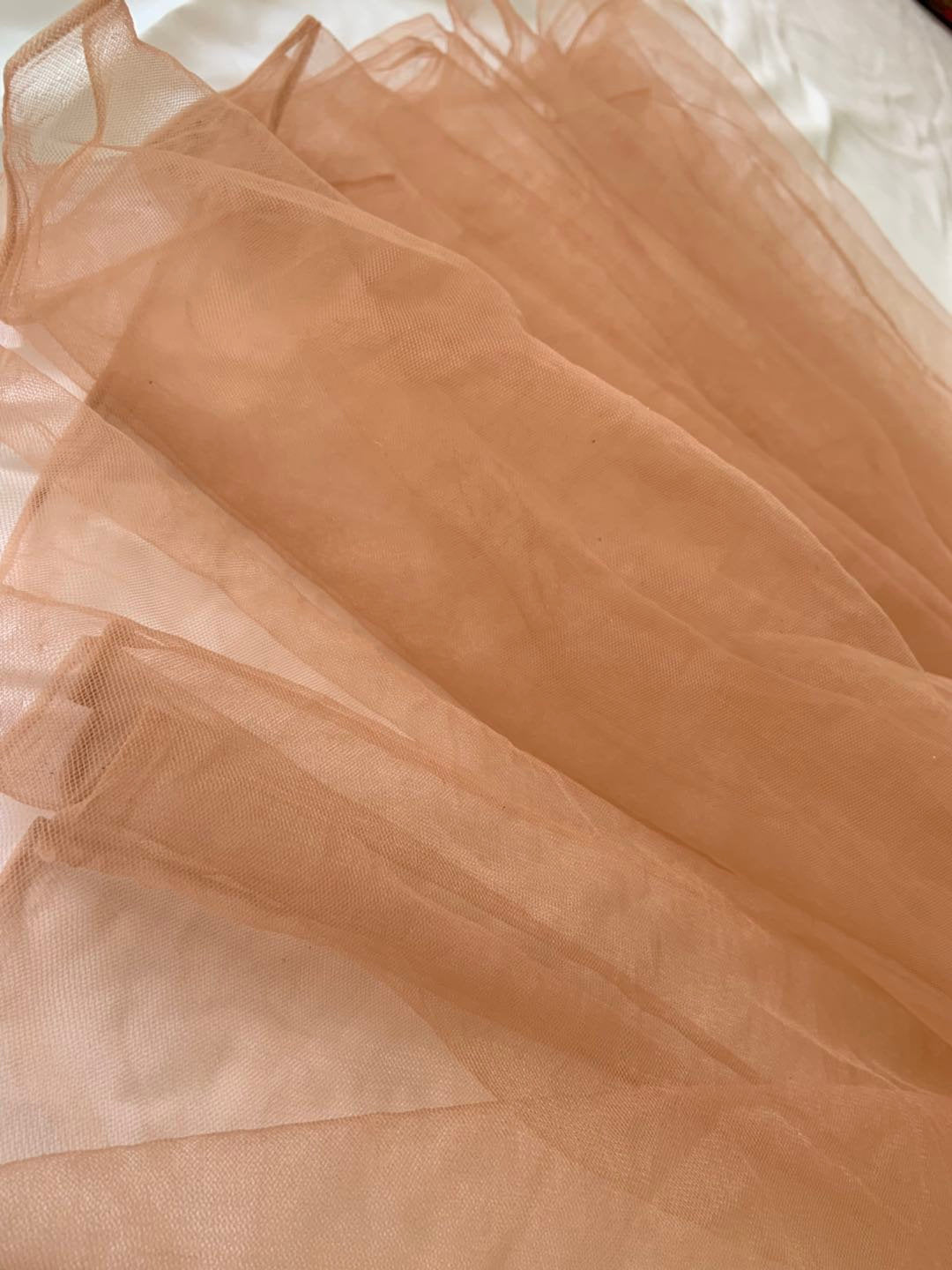 Dust pink fine tulle netting fabric, skin flesh color tulle for bridal veil, earth tone tutu mesh fabric,HYRSW49# 30+ colors