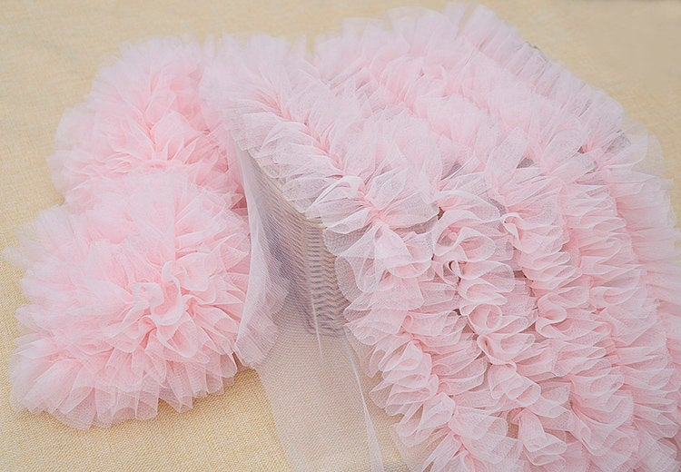 Extra Dense ruffled tulle trim for tutu dress, frill trim, pleated mesh trim for cake dress - lace era