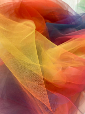 dream rainbow tulle fabric with Gradient colors, tie dyed style tulle mesh lace fabric, bridal tulle lace fabric, net tulle lace fabric - lace era