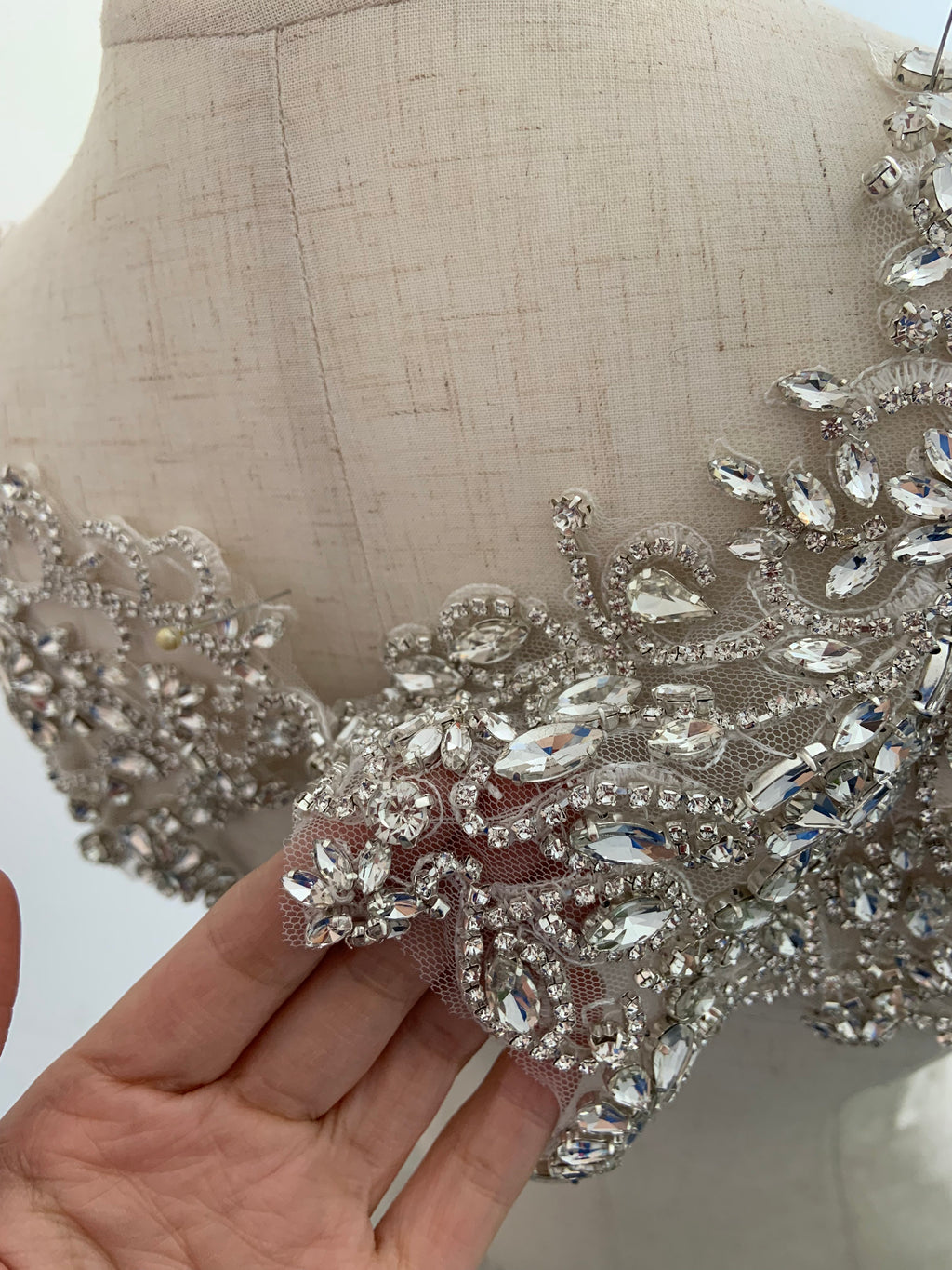 Rhinestone bead applique with retro motif, crystal bodice patch - lace era