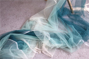 dreamy Tie-dyed style tulle fabric with Gradient colors, green and white mesh lace fabric, gauze net fabric - lace era