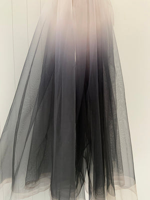 Tie-dyed style tulle fabric with Gradient colors, nude to black mesh lace fabric, gauze net fabric - lace era