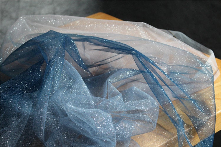 Glitter navy blue Tie-dyed style tulle fabric with Gradient colors,  mesh lace fabric, gauze net fabric - lace era