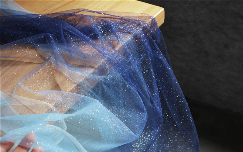 Glitter ice blue to navy blue Tie-dyed style tulle fabric with Gradient colors,  mesh lace fabric, gauze net fabric - lace era