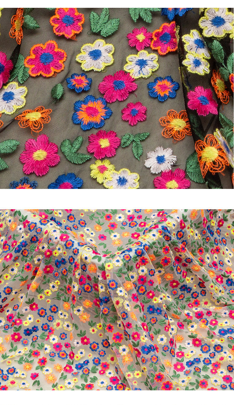 heavy embroidered tulle lace fabric with colorful flowers by the yard - lace era