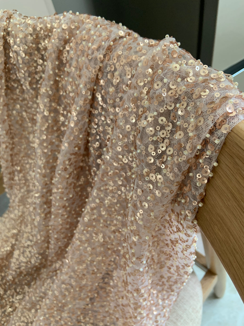 rose gold French lace fabric with matte sequins and beads - lace era
