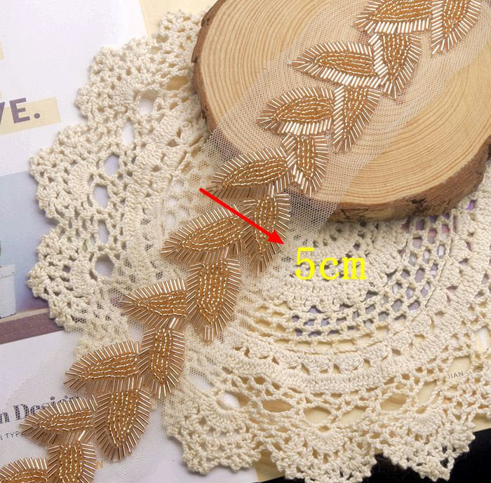 Gold heavy bead trim with leaves 1.7 yards - lace era