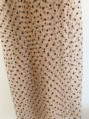 tan brown tulle Lace fabric with black polka dots, tulle mesh fabric with velvet dot, new arrival, hot selling - lace era