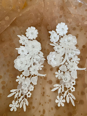 off white lace applique, 3D heavy bead lace applique with florals, 3D flowers lace applique motif, 2pcs
