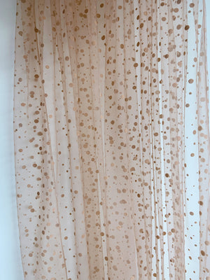 tan brown tulle Lace fabric with dots, tulle mesh fabric with velvet dot, new arrival, hot selling - lace era