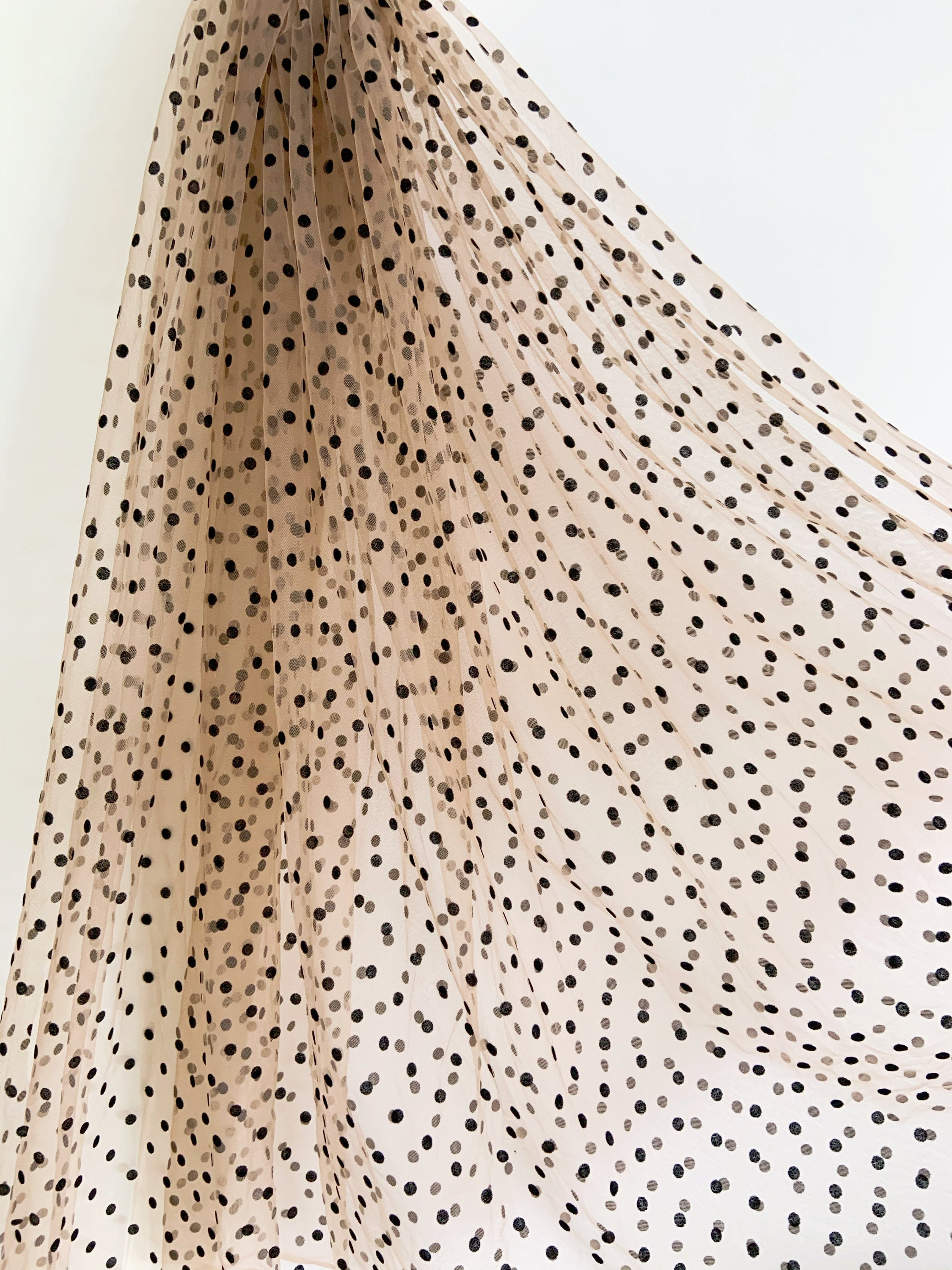 ivory cream tulle Lace fabric with black polka dots, tulle mesh fabric with velvet dot, new arrival, hot selling - lace era