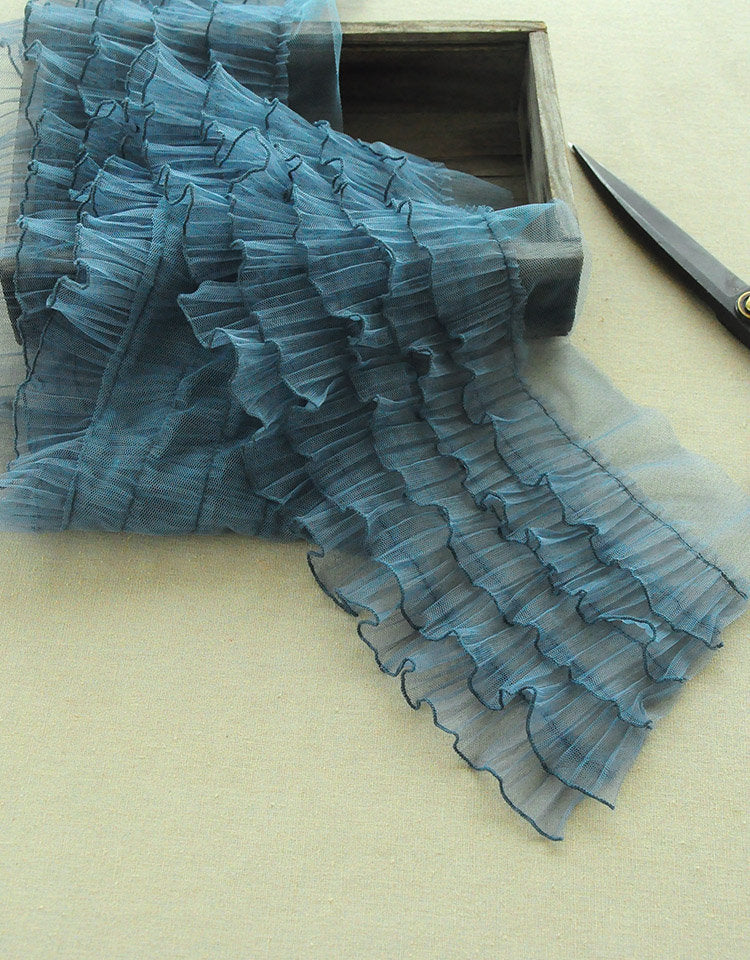 Lolita ruffled tulle trim for tutu dress, retro blue frill trim, pleated mesh trim for cake dress, retro style ruffled trim - lace era