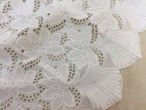 off white cotton eyelet lace fabric with scalloped selvedges | lace fabric with lily flowers