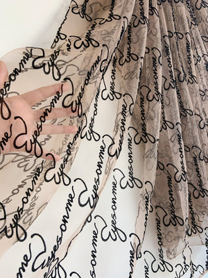 stretchy nude tan tulle Lace fabric with alphabet eyes on me,  Embroidered tulle mesh lace fabric with velvet script words - lace era